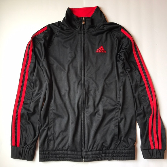 6e85b5b0dbbc adidas Other - Boys ADIDAS warm up jacket Black   Red M 10 12 EUC